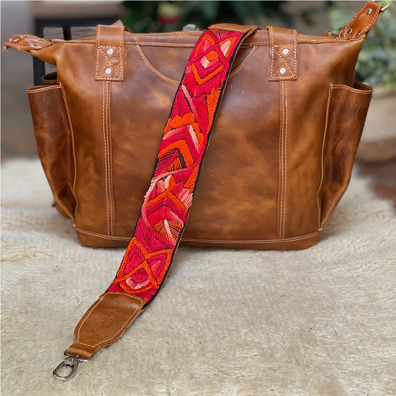Red Embroidered Crossbody Strap from Guatemala - The Fox and the Mermaid