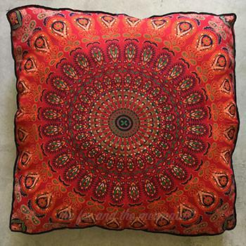 Mandala Tapestry Floor Cushion and Dog Bed: Red and Black