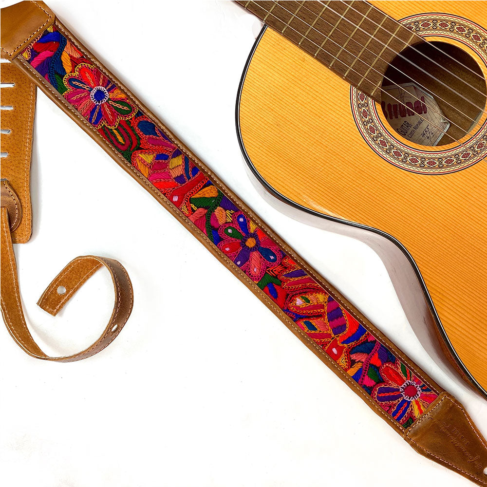Guatemalan Embroidered Faja Belt guitar strap - The Fox and the Mermaid
