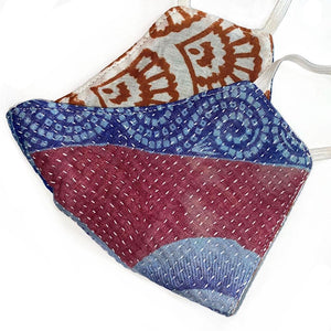 blue and red reversible kantha mask - The Fox and the Mermaid