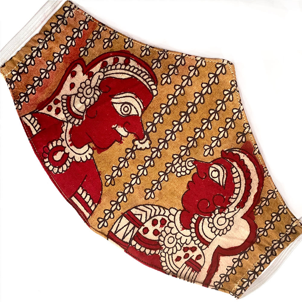 Red and Brown Hand-Painted Cotton  Mask - The Fox and the Mermaid