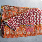 Hand-Stitched Kantha Throw - The Fox and The Mermaid - 2