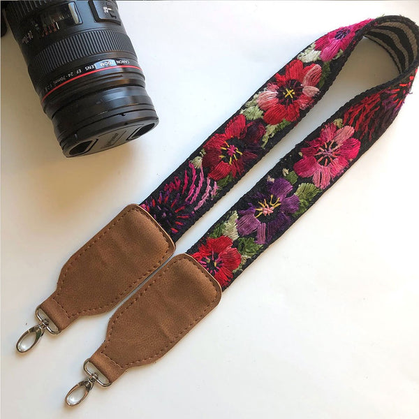 Red and Purple Floral Camera Strap The Fox and the Mermaid