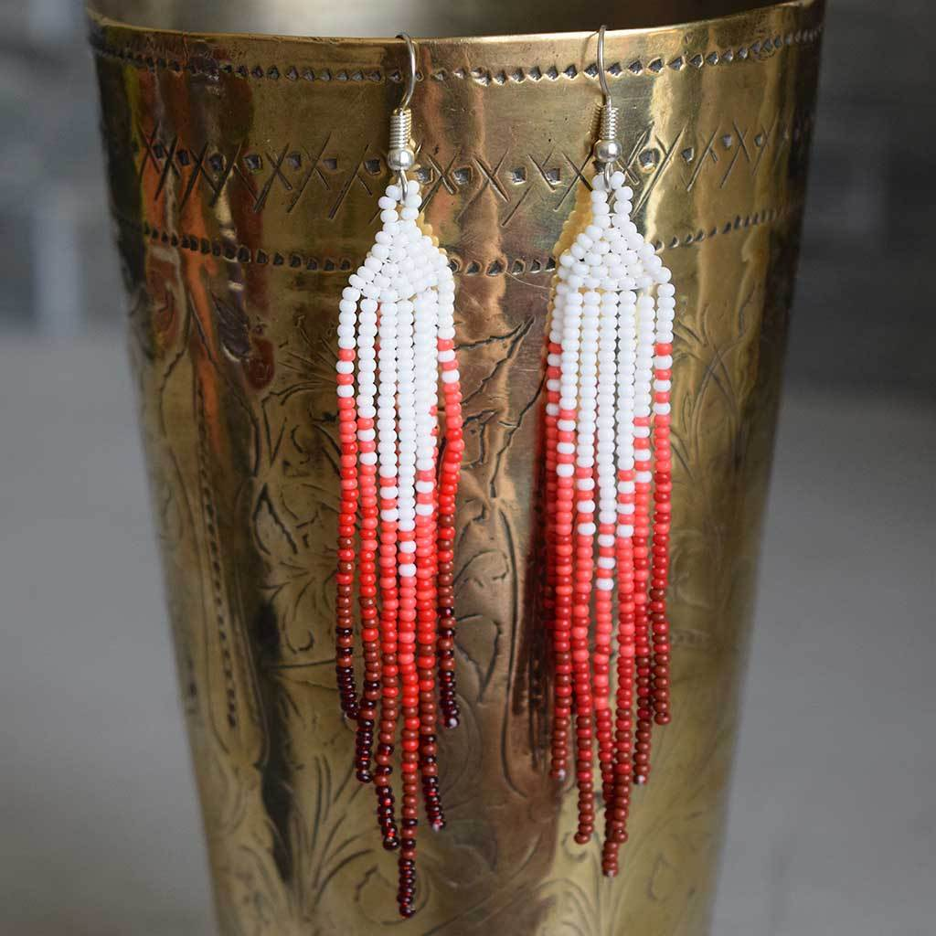 Red Beaded Indian Earrings The Fox and the Mermaid