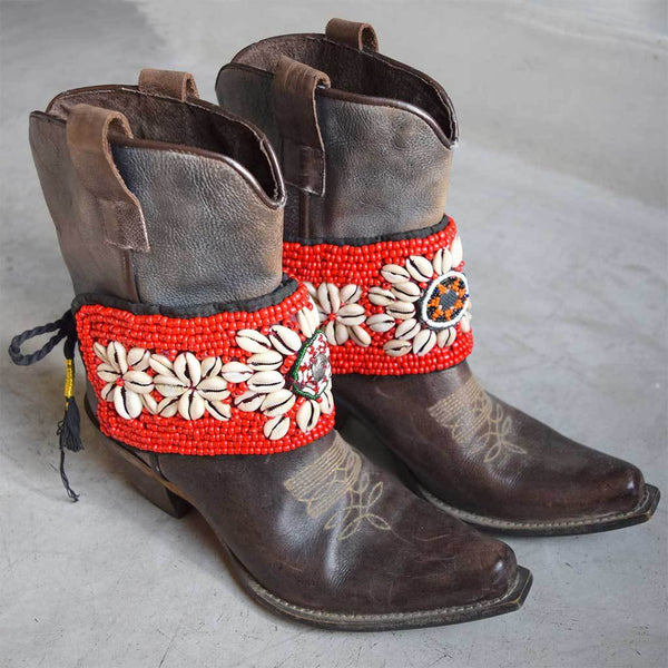 Red Beaded Boot Belts The fox and the Mermaid