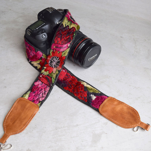 Huipil Embroidered Camera Strap The Fox and the Mermaid