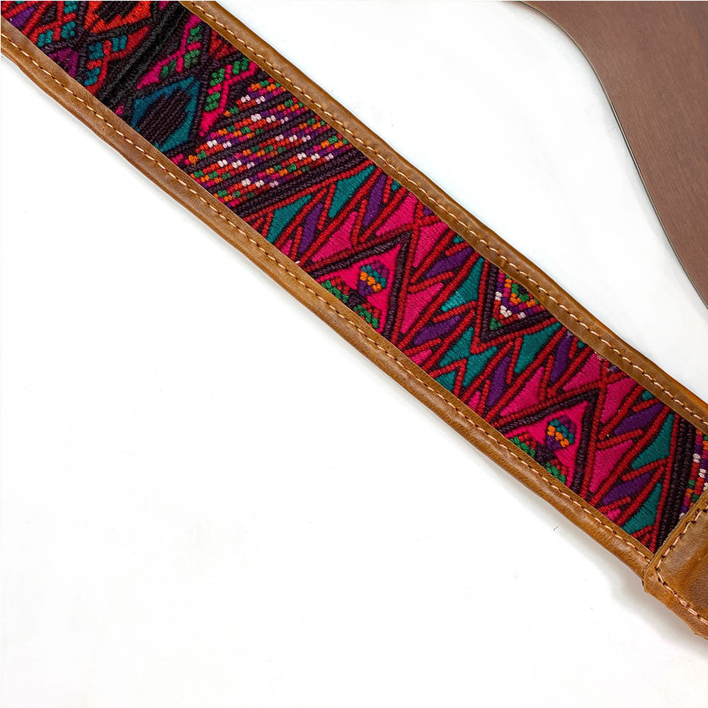 Embroidered detail on  Guitar Strap - The Fox and the Mermaid