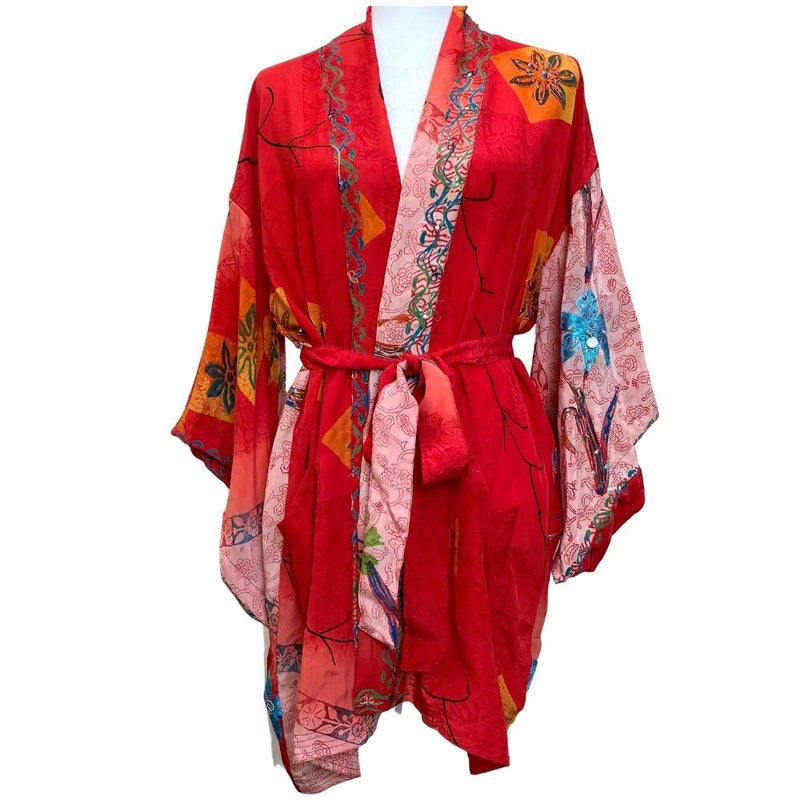 Red vintage silk short kimono - The Fox and the Mermaid