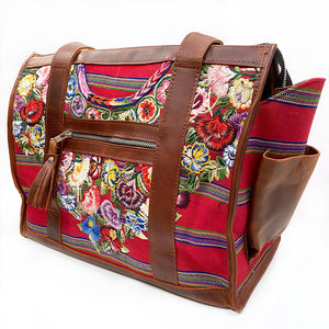 boho style dog carrier with embroidered flowers - The Fox and the Mermaid