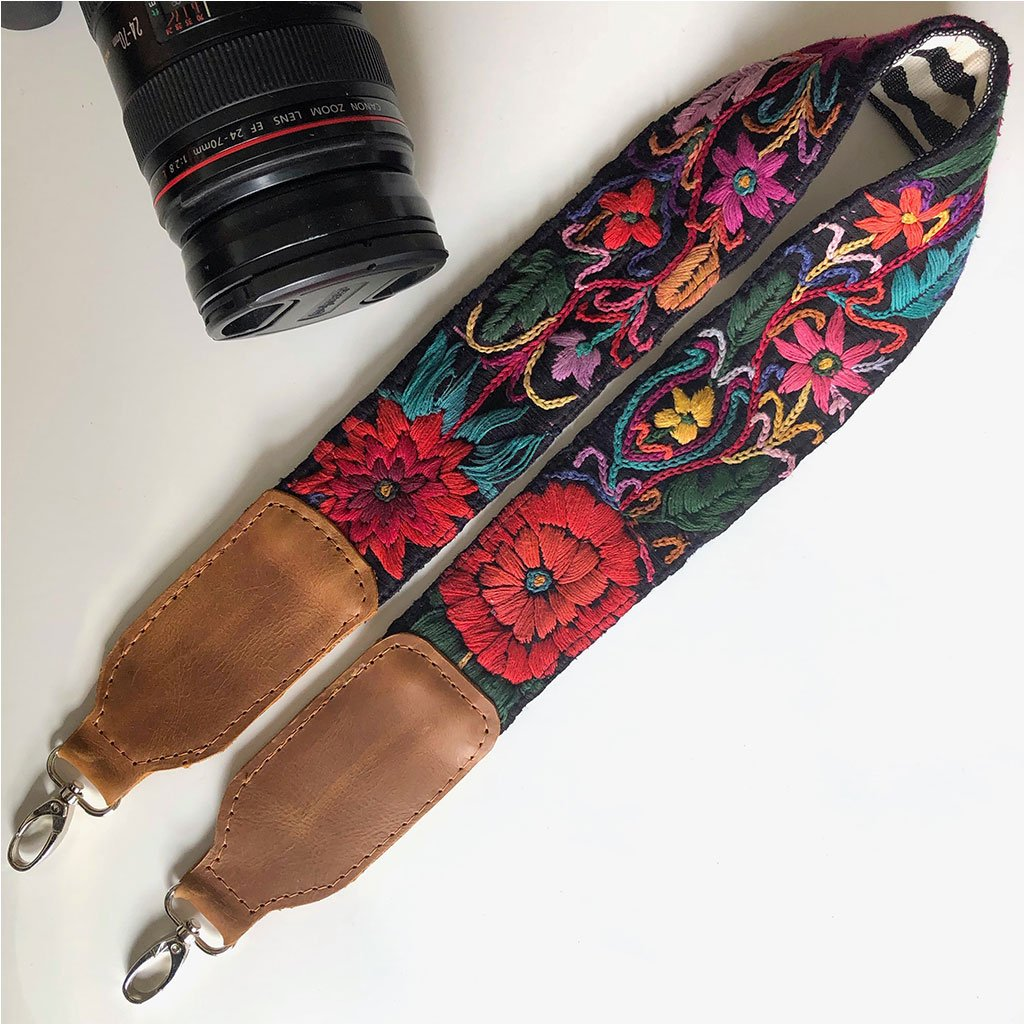 Red Floral Camera Strap The Fox and the Mermaid