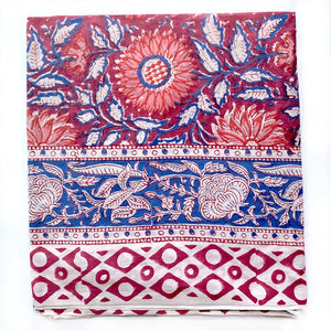 hand block printed sarong with flowers and geometric border - The Fox and the Mermaid