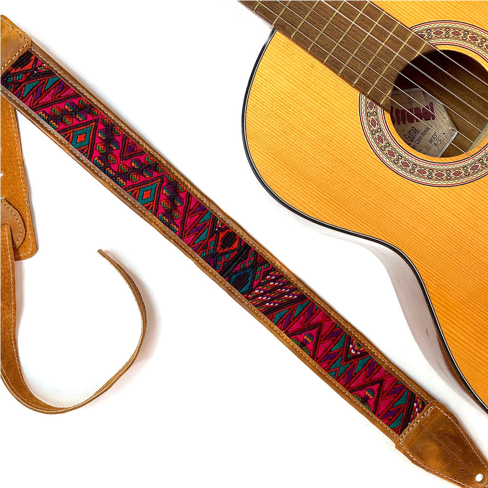 Red Geometric Embroidered Guitar Strap - The Fox and the Mermaid