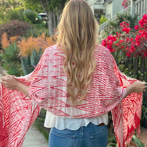 red hand woven shawl and sarong - The Fox and the Mermaid
