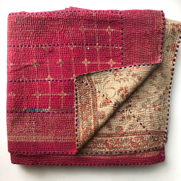 Red and Gold Vintage Kantha Quilt The Fox and the Mermaid