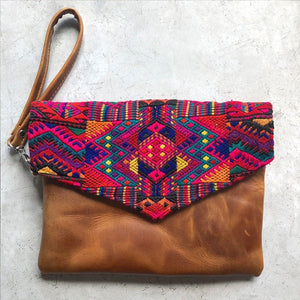 Red Guatemalan leather embroidered bag The Fox and the Mermaid