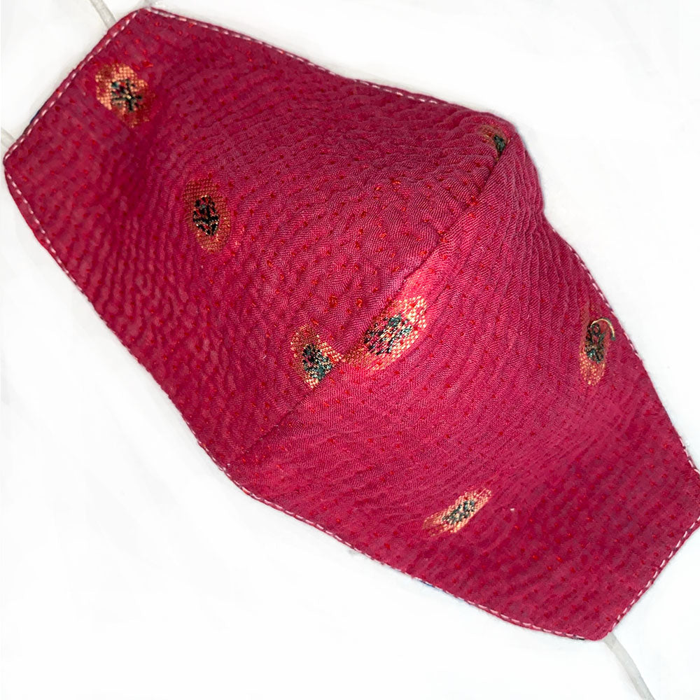 red reversible kantha mask - The Fox and the Mermaid