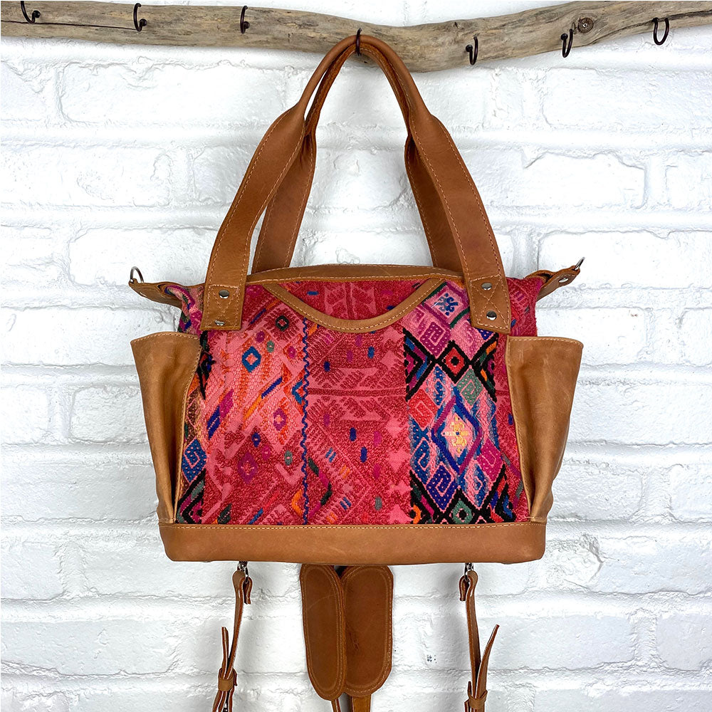 tan leather red huipil bag - The Fox and the Mermaid