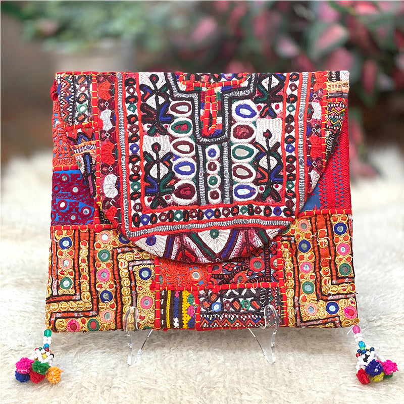 Red Embroidered Bohemian clutch - The Fox and the Mermaid