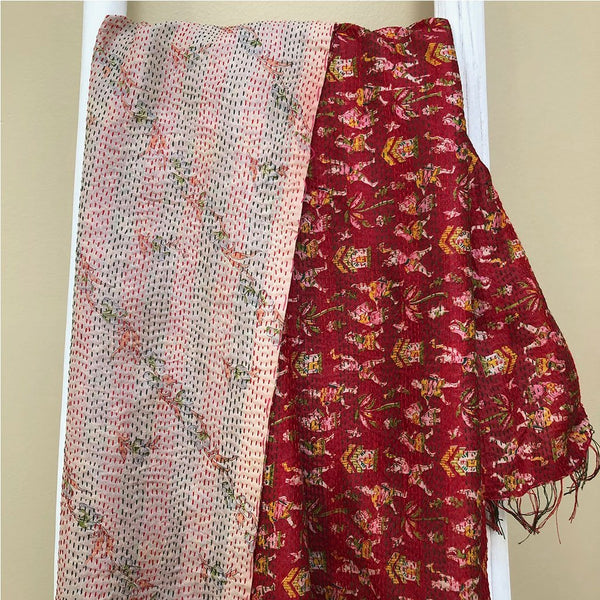 Red silk kantha wrap - The Fox and the Mermaid