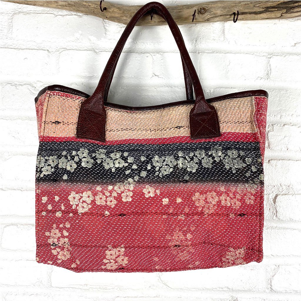 Vintage kantha bag The Fox and the Mermaid