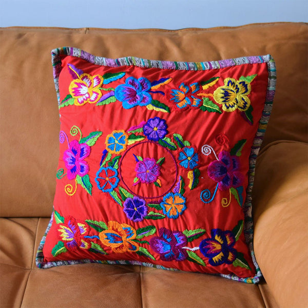 Embroidered Guatemalan Cushion The Fox and the Mermaid