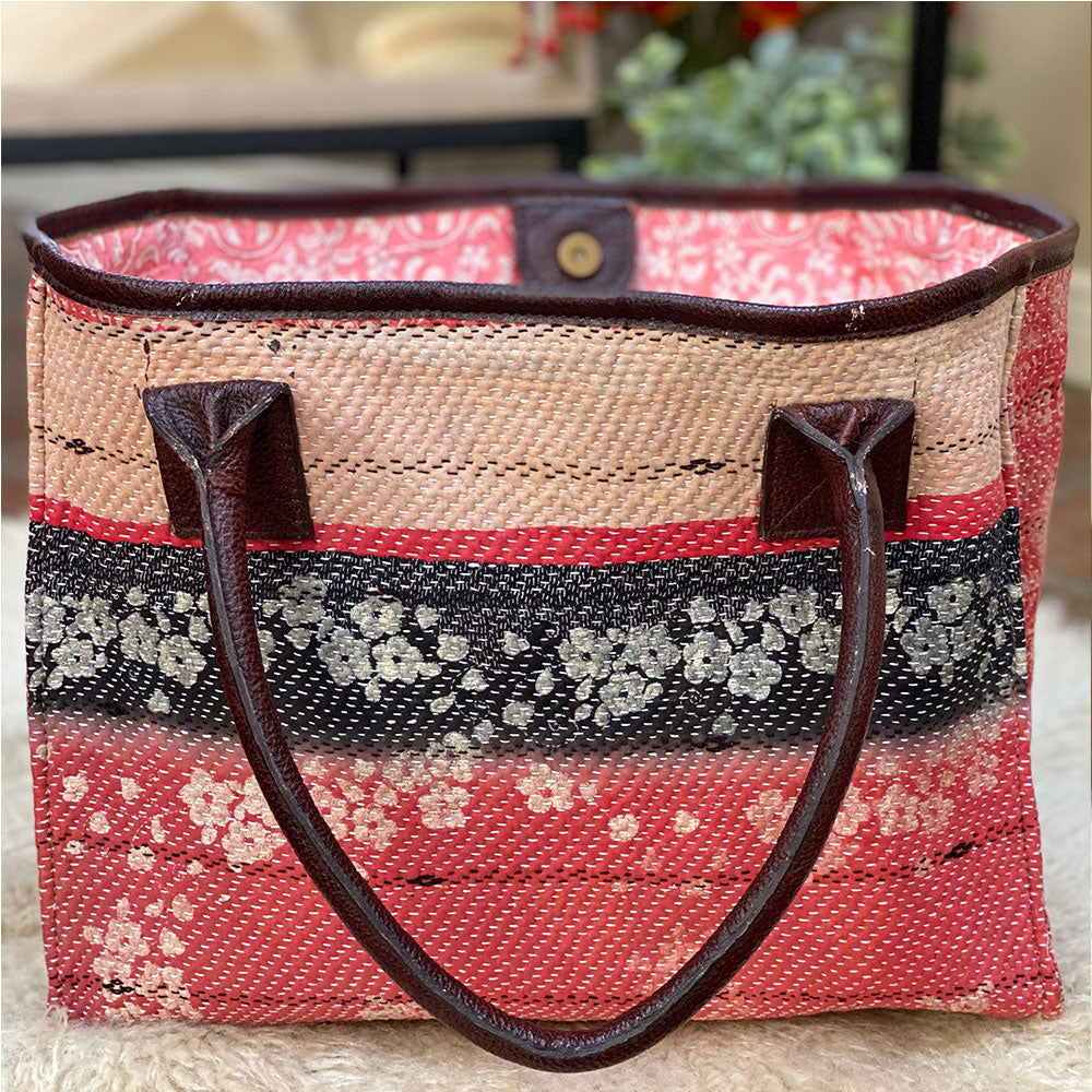 red and pink block printed kantha bag - The Fox and the Mermaid