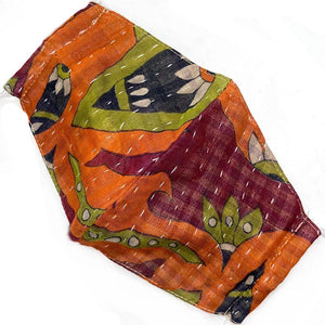 red green and orange vintage kantha mask - The Fox and the Mermaid