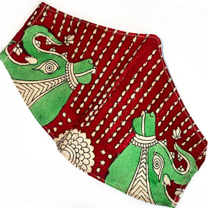red and green cotton reusable mask from india - The Fox and the mermaid