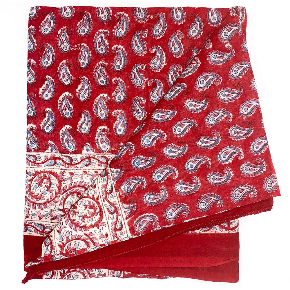Red and Blue Block printed sarong - The Fox and the Mermaid