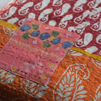 Hand-Stitched Kantha Throw - The Fox and The Mermaid - 1