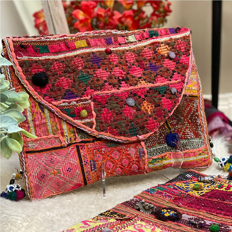 red and pink vintage embroidered tribal bag - The Fox and the Mermaid