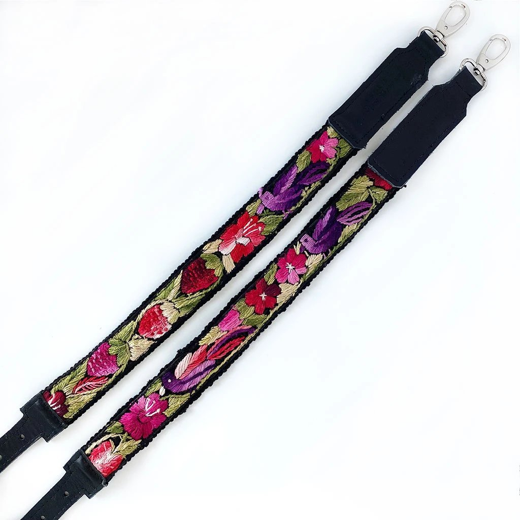 red green and purple floral backpack straps with birds The Fox and the Mermaid