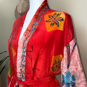 embroidery detail on red silk robe - The Fox and the Mermaid