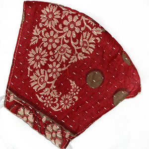 red hand stitched kantha quilted mask - The Fox and the Mermaid
