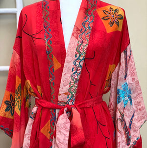 red embroidered silk robe - The Fox and the Mermaid