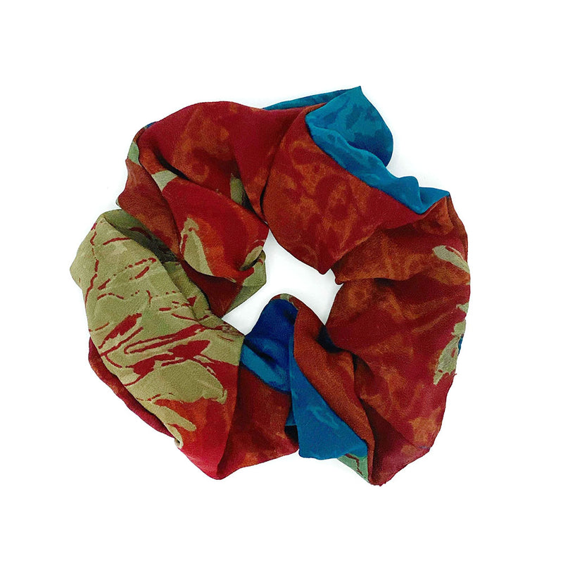 rust and blue silk scrunchie - The Fox and the Mermaid