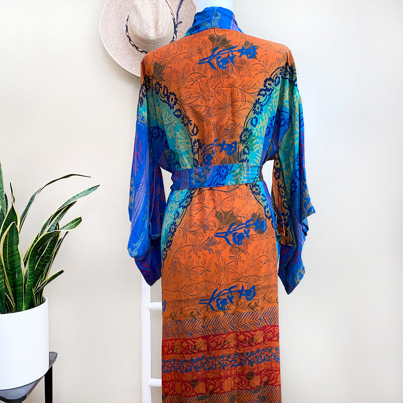 back of orange and blue silk kimono - The Fox and the Mermaid