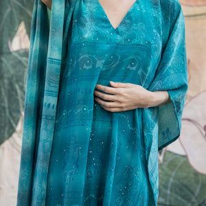 blue sequined silk caftan dress - The Fox and the Mermaid
