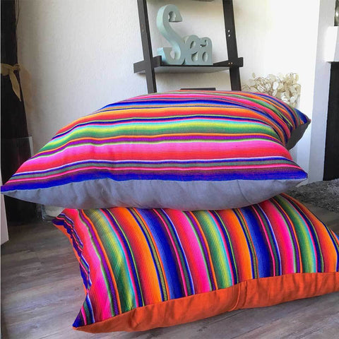 Mayan Rainbow Pillow, Floor Cushion or Dog Bed