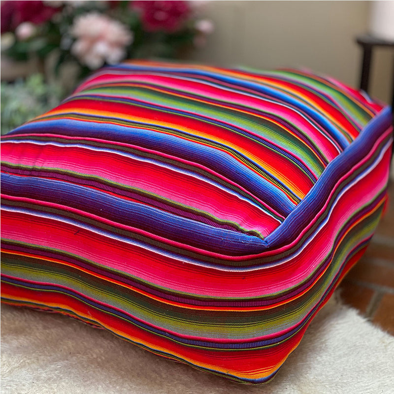rainbow serape mexican pouf - The Fox and the Mermaid