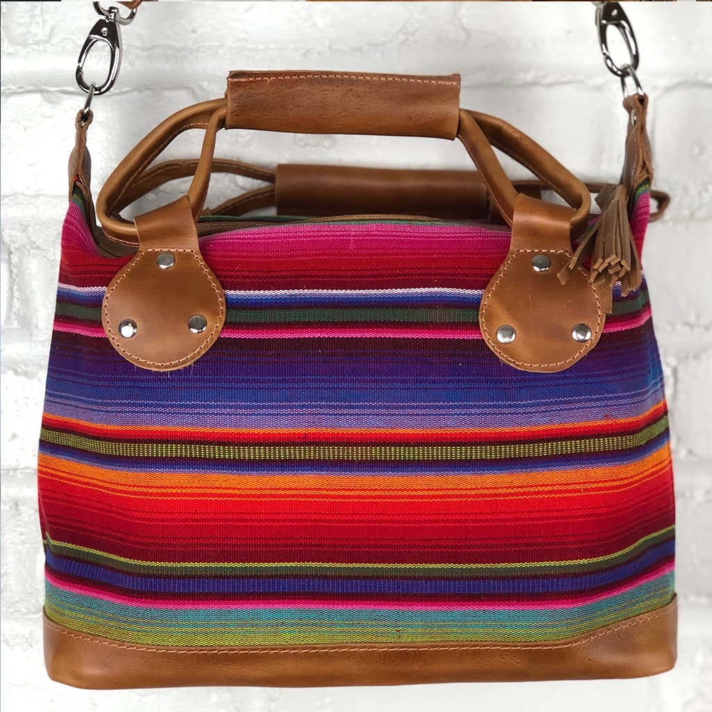 hand-woven guatemalan serape bag Leather Embroidered Strap