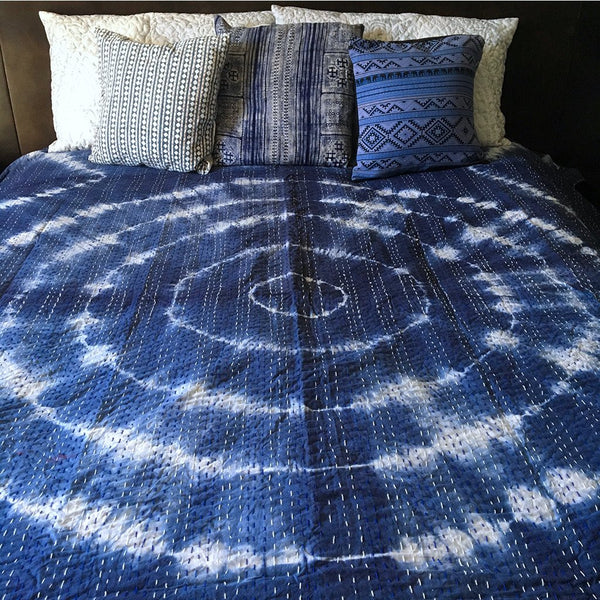 Indigo Tie-Dye Kantha Quilt - The Fox and The Mermaid
