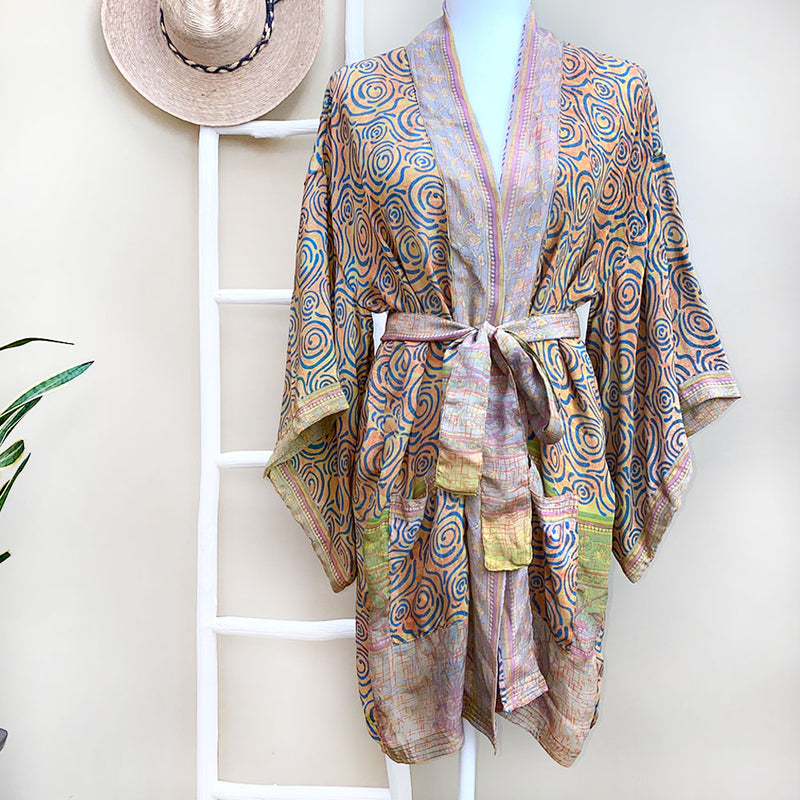 orange and lavender silk robe - The Fox and the Mermaid