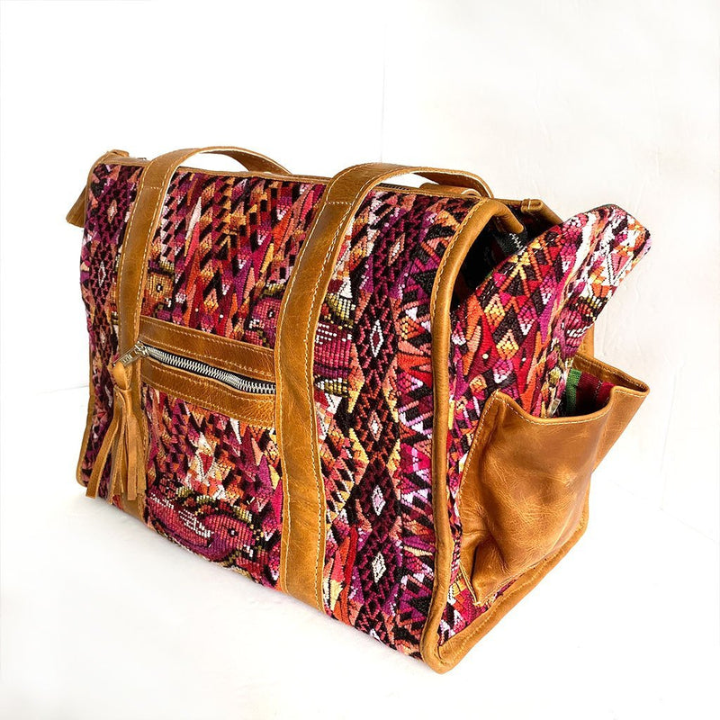 side view of geometric huipil Dog Bag - The Fox and the Mermaid