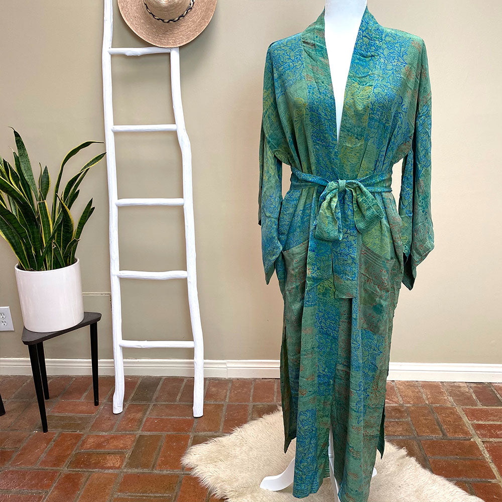 Blue and Greeb vintsge silk houserobe and kimono - The Fox and the Mermaid