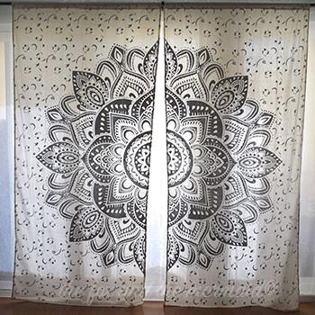 Silver or Gold Lotus Flower Mandala Tapestry Curtains - The Fox and The Mermaid - 1