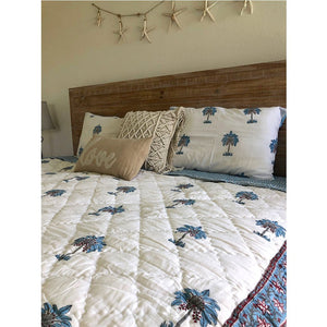 soft indian block printed quilt with palms The Fox and the Mermaid