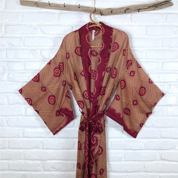 Red and Brown Silk Vintage Robe The Fox and the Mermaid