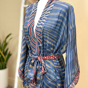 Blue and Red Vintage Silk Robe and kimono - The Fox and the Mermaid