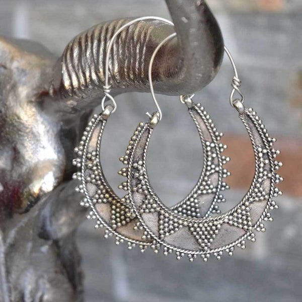Silver Studded Tribal Earrings The Fox and the Mermaid